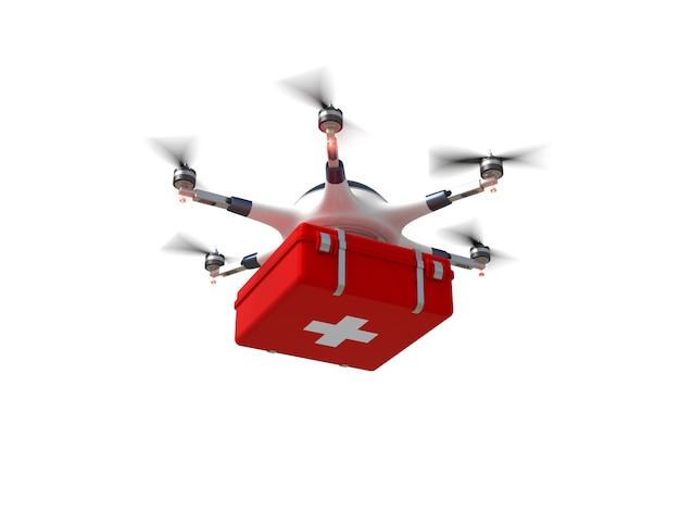 Red cross drone Premium Photo