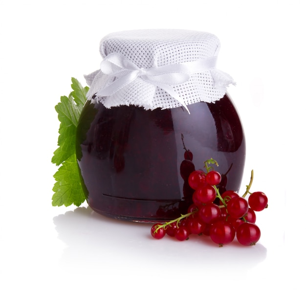 Red currant jam isolated Premium Photo