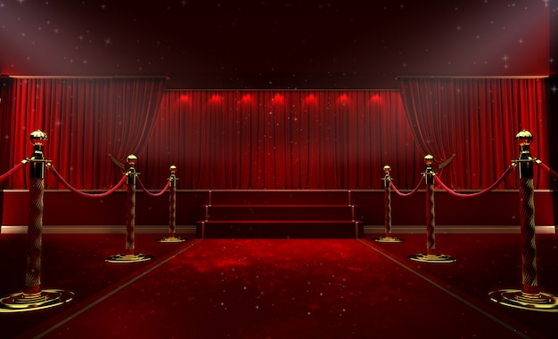 Красный занавес и прожектор. фестиваль ночной шоу постер Premium Фотографии