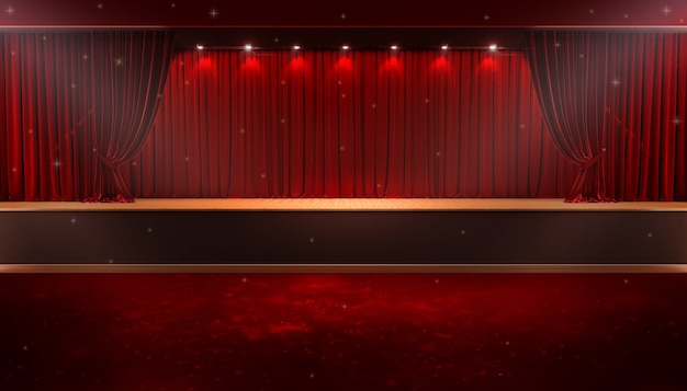 Red curtain and a spotlight. festival night show poster Premium Photo