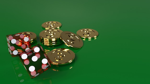 Red dices on green 3d rendering close up image. Premium Photo