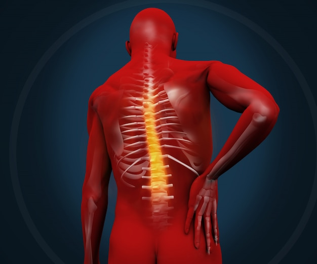 Red digital figure having pain Premium Photo