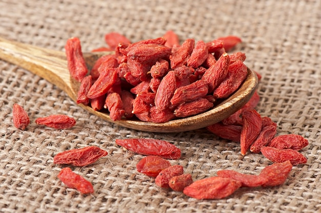 Red dried goji berries in wooden spoon Free Photo