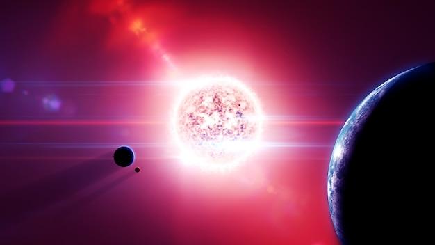 惑星と月のある赤色矮星太陽系 Premium写真