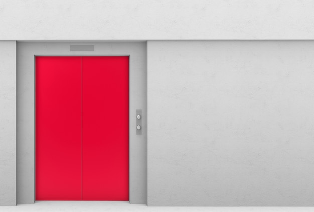 Red elevator door with gray cement copy space wall background. Premium Photo