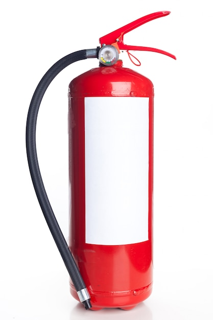 Red fire extinguisher isolated on white Premium Photo