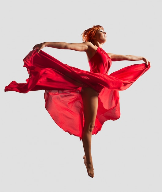 Red flying dancer Free Photo