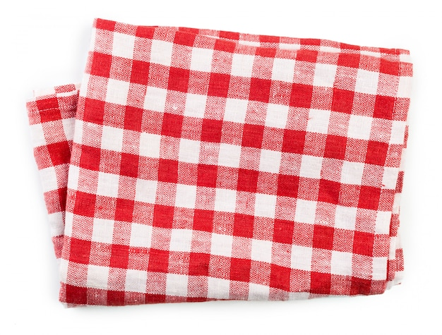 Red folded tablecloth isolated on white Premium Photo