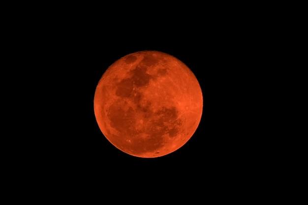 Red full moon, natural phenomenon lunar eclipse. Premium Photo