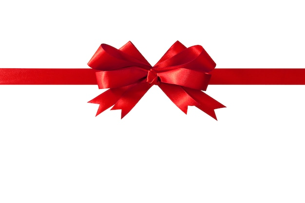 Red gift ribbon bow straight horizontal isolated on white. Free Photo