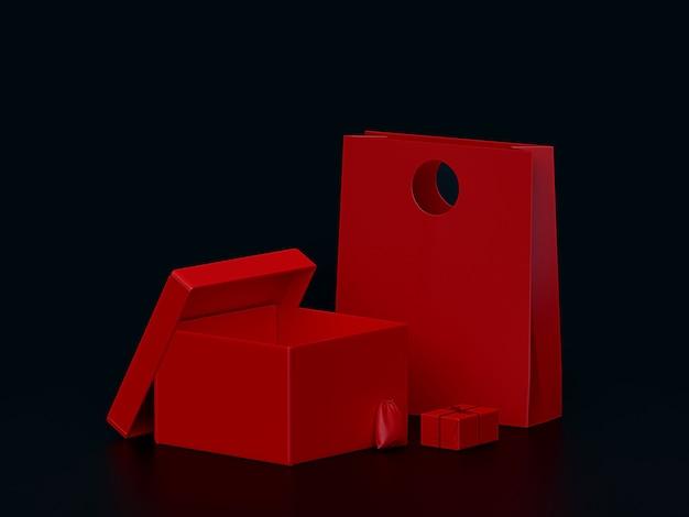Красный подарочный набор коробки макет Premium Фотографии