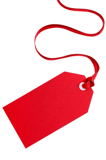 Red Gift Tag With Ribbon Isolated On White Photo