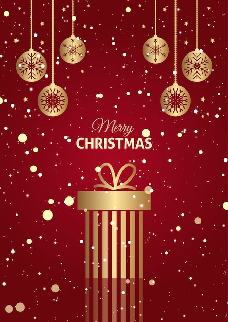 Red and gold christmas gift background with hanging baubles Free Photo