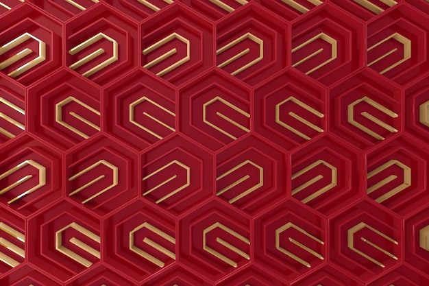 Red and gold tridimensional background Premium Photo