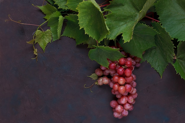 Red grapes with leaves. Premium Photo