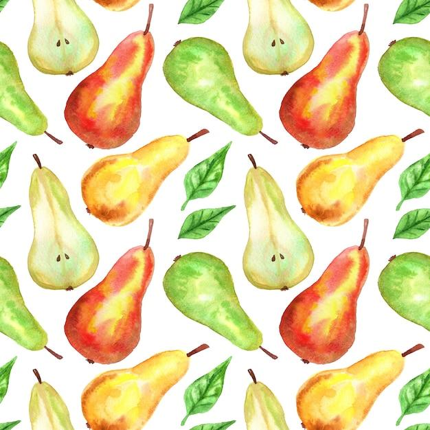 赤、緑、黄色の梨。シームレスパターン。手描きの水彩イラスト。印刷、ファブリック、テキスタイル、壁紙のテクスチャ。 Premium写真