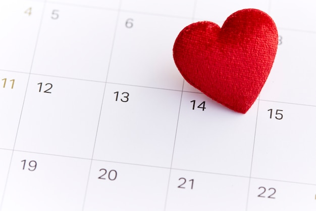 Red Heart Shape Symbol On The February 14 Photo Premium Download