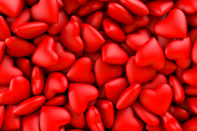 Red hearts. background texture of hearts. valentine's day. 3d rendering illustration Premium Photo