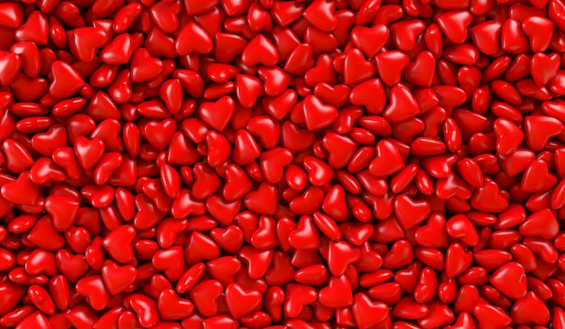 Red hearts in a box. background texture of hearts. 3d rendering illustration. valentine's day. Premium Photo