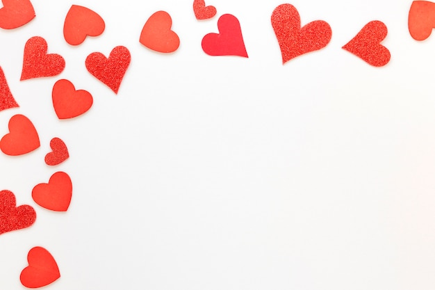 Red hearts frame for valentines Free Photo