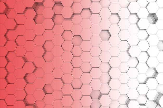 빨간색 육각 배경입니다. 3d 배경 프리미엄 사진