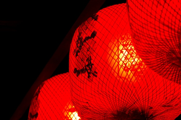 Red lantern the symbolic of lucky in chinese tradition chinese new year Premium Photo