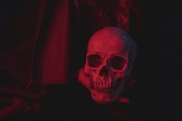 Red light cement skull design for halloween Free Photo
