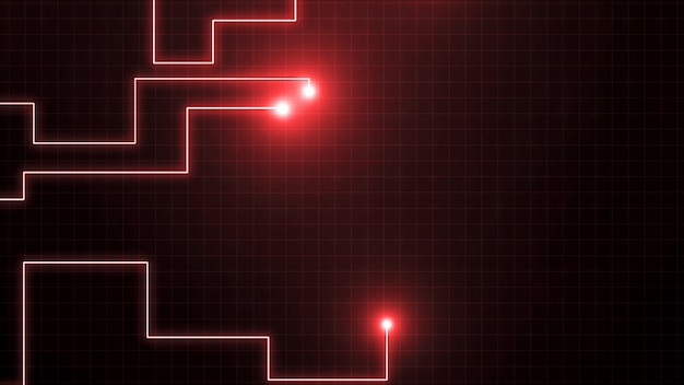 Red lines drawn by bright spots . it may represent electronic connections, communication, futuristic technology. Premium Photo