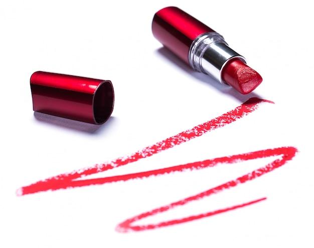 Red lipstick with trace Premium Photo