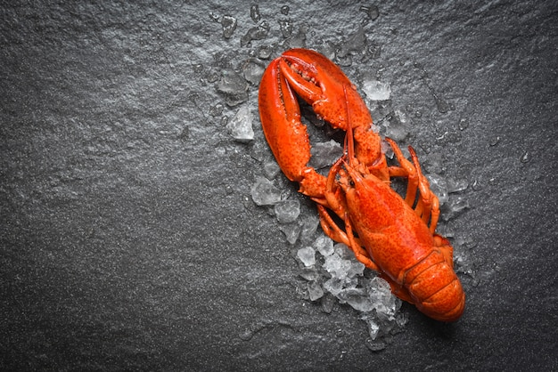 Red lobster seafood with ice top view Premium Photo