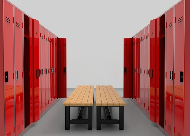 Red lockers rows separated by a wooden bench Premium Photo