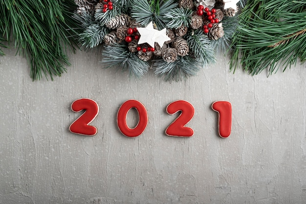 2021 Spirit Of Christmas Premium Photo Red Number 2021 From Gingerbread And Christmas Wreath Good New Year Spirit