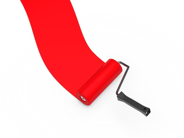 Red paint roller Free Photo