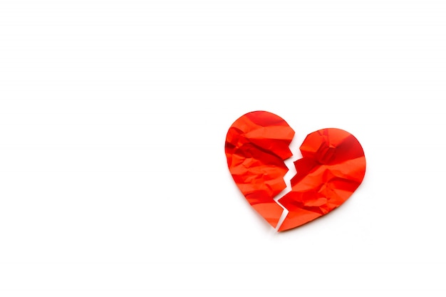 Premium Photo Red Paper Broken Heart On White Background