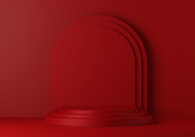 ディスプレイ用の赤い台座。幾何学的形状の空の製品スタンド。 3 dのレンダリング。 Premium写真