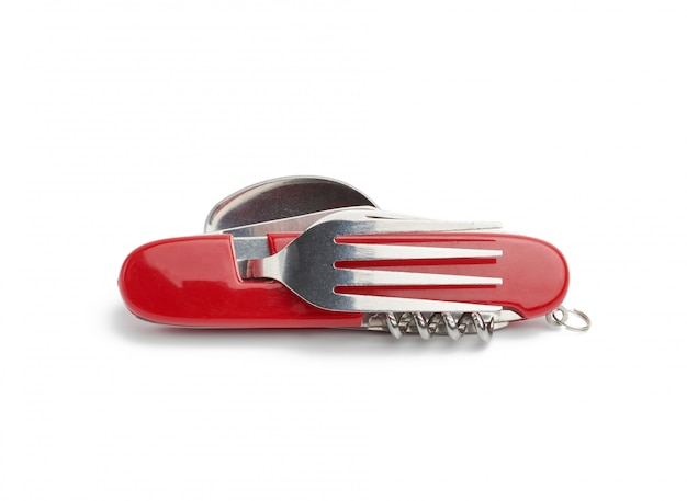 Red penknife for survival with various tools Premium Photo