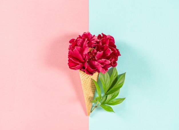 ワッフルコーンの赤い牡丹の花 Premium写真
