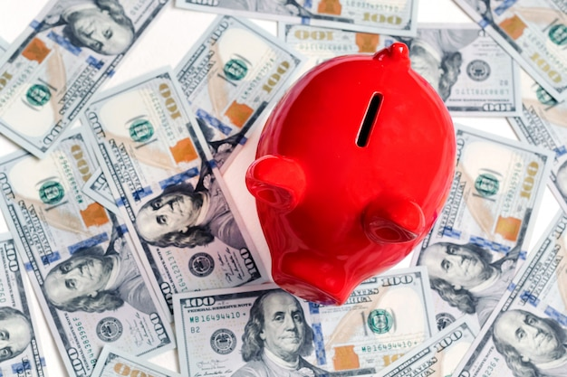 Red piggy bank and one hundred dollars, new 100 us dollar 2013 edition banknotes Premium Photo