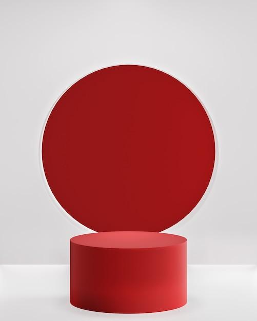 製品配置3dレンダリングのための白い背景の上の赤い表彰台 Premium写真