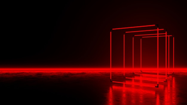 Red rectangle neon light on dark floor Premium Photo