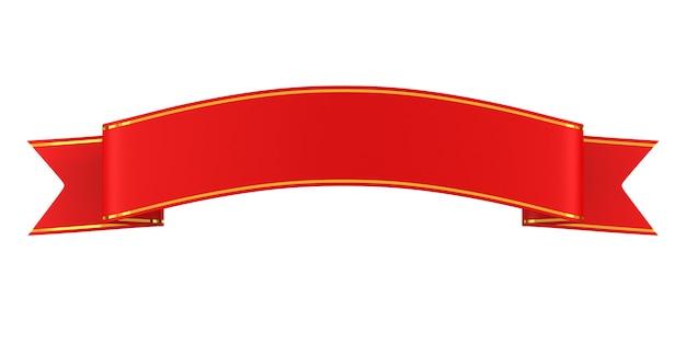 Red ribbon on white background. isolated 3d illustration Premium Photo