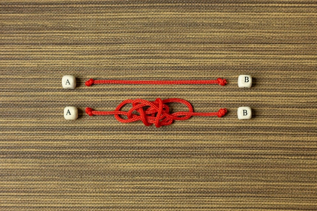 Red rope choice abstract image for business content Premium Photo