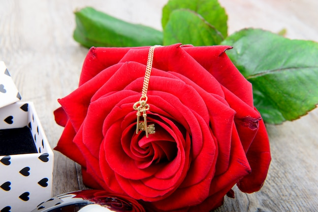 Red rose with a little jewel for valentine day Premium Photo