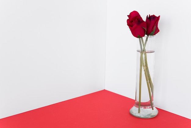 Red roses in glass vase on table Free Photo