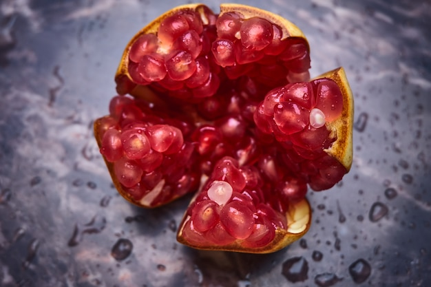 Red seeds of pomegranate Premium Photo
