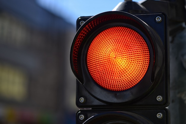 The red semaphore light. trafic control light. Premium Photo