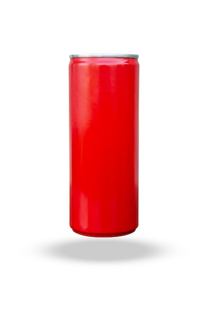Red slim can isolated on white background with clipping path Premium Photo