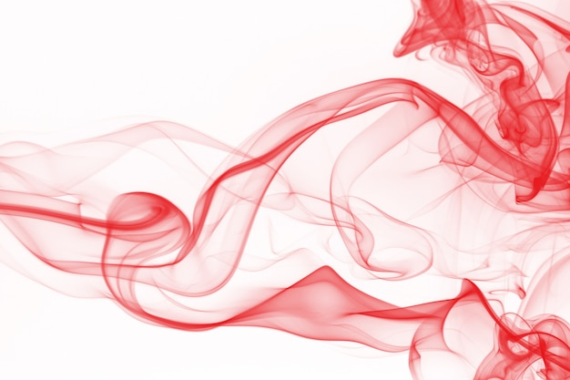 Red smoke abstract on white background, fire design Premium Photo