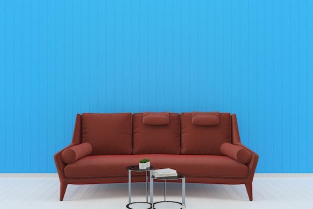 Red Sofa Blue Pastel Wall White Wood Floor Background Texture Premium Photo