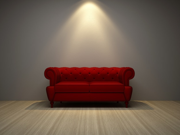 Red sofa chair 3d render Photo | Premium Download